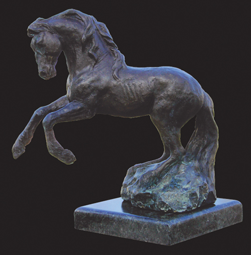 YOUNG FRIESIAN STALLION, bronze on granite,  15